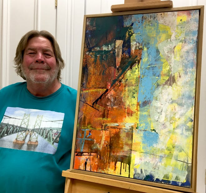 """Local artist Kent Broadbent poses with his painting , """"The Sixties Show, Part II"""""""