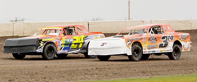 Five drivers earned their first feature wins of the season Sunday night during the 6th Casino Speedway Memorial racing program, including street stock driver Tyler Lamb of Clark (right). Lamb is pictured racing earlier this season against Ashley Wampler of Aberdeen.