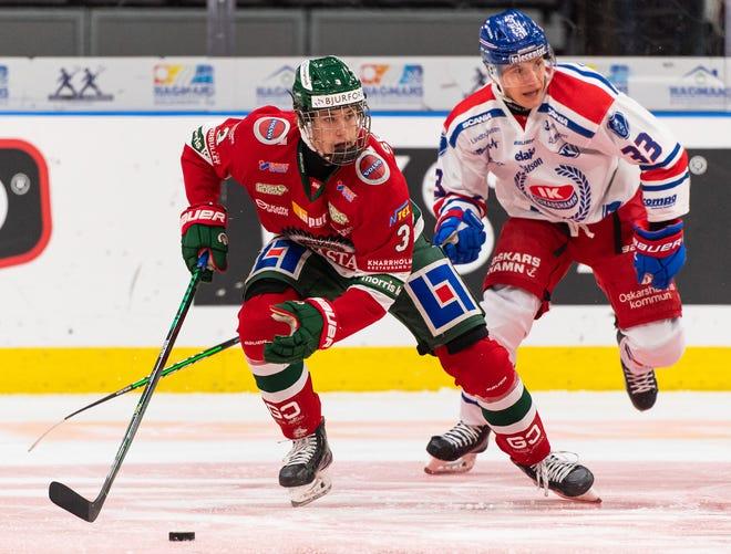 Swedish defenseman Simon Edvinsson: 2021 NHL Draft.