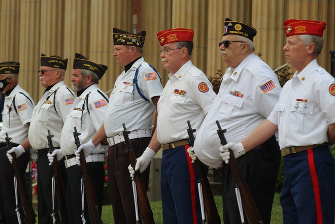 Fremont honor fallen veterans Monday in a ceremony at the Sandusky County Courthouse. VFW Post 2947 hosted the ceremony and a parade through Downtown Fremont.