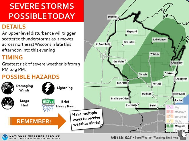 National Weather Service Green Bay watch for severe storms on Memorial Day 2021.