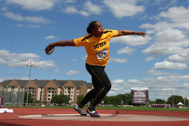 Laulauga Tausaga placed second in the NCAA West preliminaries on May 29 in College Station, Texas. She is bidding to repeat her 2019 title in that event.