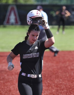 Assumption's Olivia Pastin (99) headed home after hitting a home run against Male at Assumption Green in Louisville, Ky. on May 31, 2021.  Assumption won 7-2.