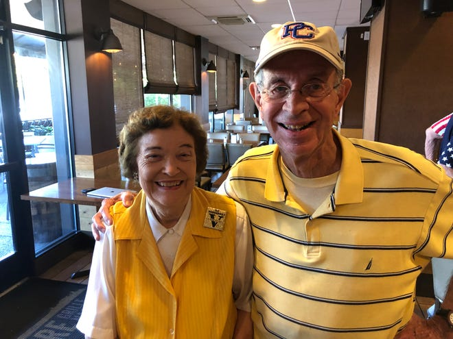 Vanderbilt baseball season-ticket holders Patty and Wally Wood at Monday's event to watch the NCAA Tournament selection show. Their grandson, Charlie McDaniel, is a pitcher for Presbyterian College, which was matched against the Commodores in the first round.