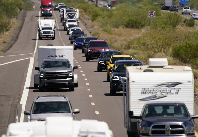 Heavy Memorial Day traffic heads towards Phoenix on Interstate-17 near Black Canyon City on May 31, 2021.