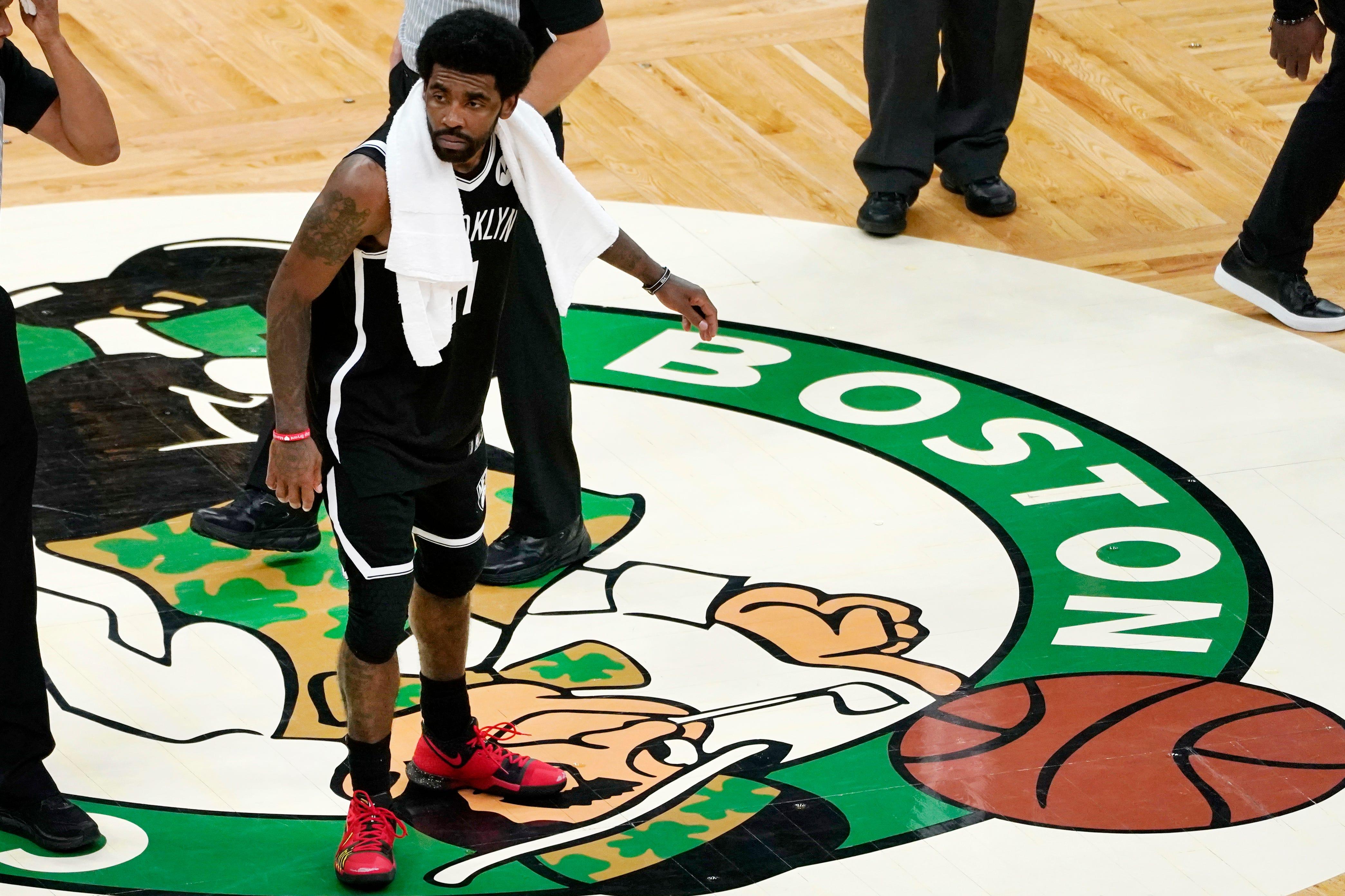 Kevin Garnett calls out Nets' Kyrie Irving for stepping on Celtics' logo