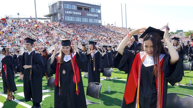 Graduating seniors from Lake Travis High include, in the front row from left to right, Swetha Ayinala, Kevin Stapleton, Megan Sundheim and Erin Fitzgerald.