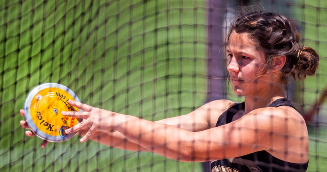 Carlie Weiser of Giddings won gold medals in the shot put and discus at the UIL state meet in May.