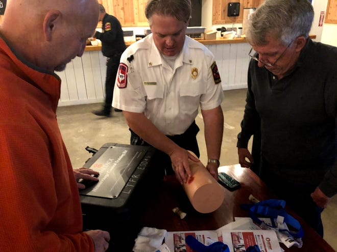 Lake Travis Fire Rescue Battalion Chief Mike Prather instructs Hudson Bend residents on proper bleeding control.