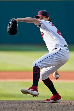 Cleveland starting pitcher Cal Quantrill delivers in the first inning of the second baseball game of a doubleheader against the Chicago White Sox, Monday, May 31, 2021, in Cleveland. (AP Photo/Tony Dejak)