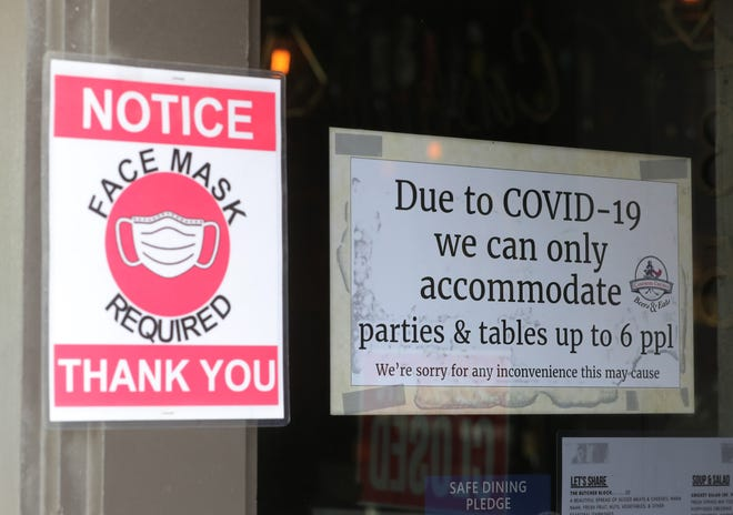 Signs outside the door of the Cashmere Cricket on Front Street in Cuyahoga falls will still be up even after statewide COVID-19 restrictions are loosened this week.