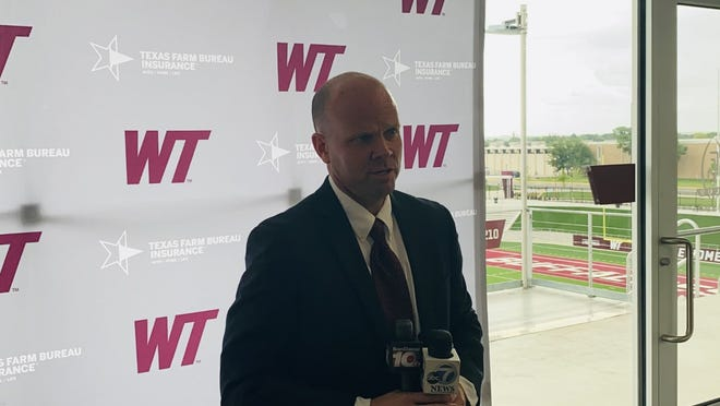 New WT head women's basketball coach Josh Prock speaks with the media following his introductory press conference.