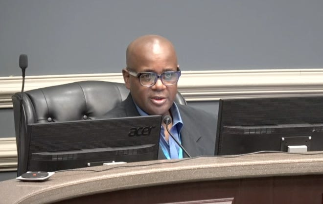 Richmond County Board of Education President Charlie Hannah calls for a vote of the FY2022 budget on June 1, 2021.