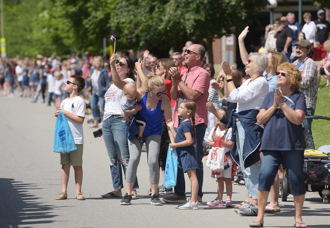 Parade-goers line Third Street during the Memorial Day parade Monday in Beaver.