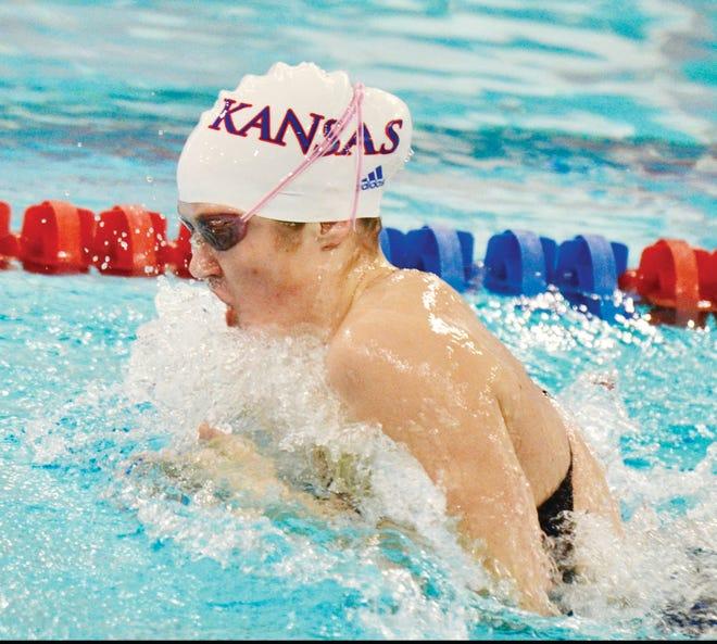 Kate Steward slices through the pool for the University of Kansas women's swimming team. (Courtesy of Susan Steward)
