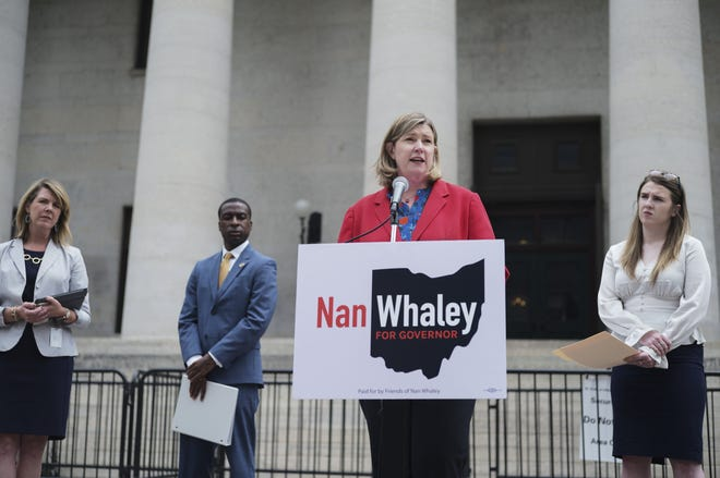 Ohio Democratic gubernatorial candidate and Dayton Mayor Nan Whaley, center, unveils an anti-corruption plan during a press conference on Tuesday, June 1, 2021 at the Ohio Statehouse in Columbus, Ohio. Also pictured are Ohio State representatives Allison Russo, left, Willis Blackshear Jr., second from left, and Bride Rose Sweeney, right.