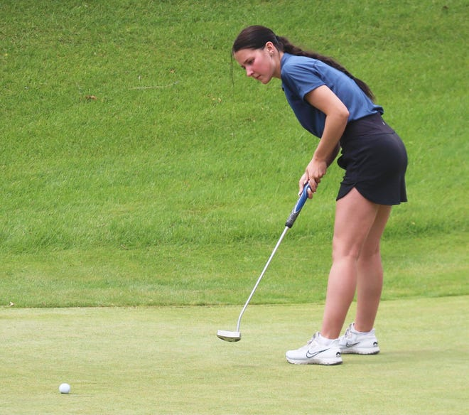 Joslynn Leach putts during the Subsection 8AA North meet in Bagley on June 1.