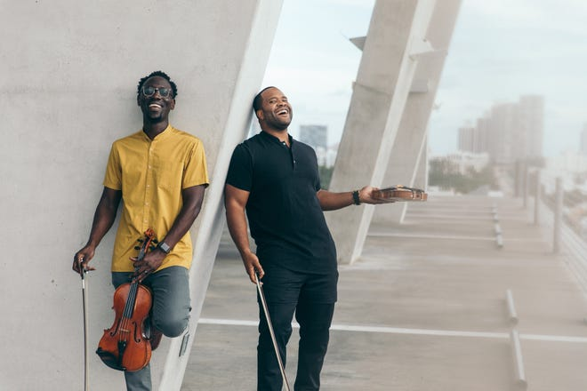 Black Violin's Wil Baptiste (from left) and Kev Marcus will headline the Depot District Music Fest at the Breeden Insurance Amphitheater in Lexington on June 12. Also performing are Scythian, Rhett Price and Abigail Dowd.