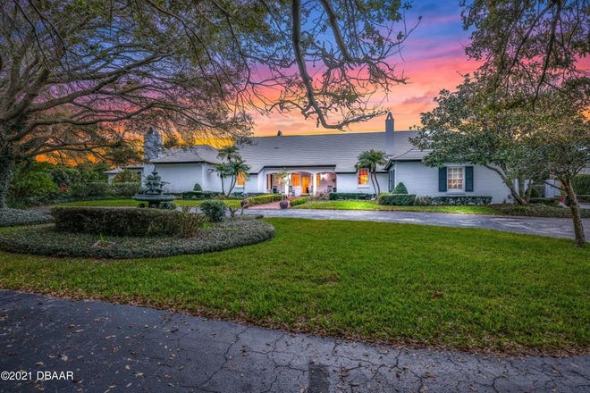 Located just two blocks from the ocean in Daytona Beach, this 1966 French country-style home was built atop a hill on more than three acres, overlooking the beautiful Intracoastal Waterway.
