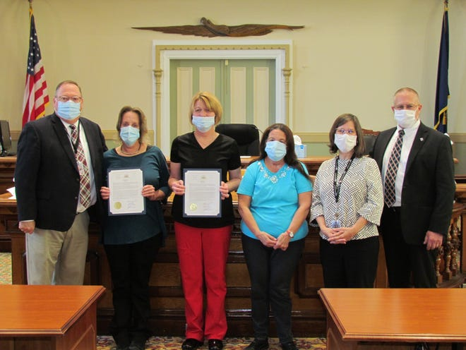 Wayne County proclaimed May 6 National Nurses Day to honor local healthcare professionals. Pictured left to right: Joseph Adams, Nancy Zafiris, Anna King, Anne Swartz, Jocelyn Cramer and Brian Smith.