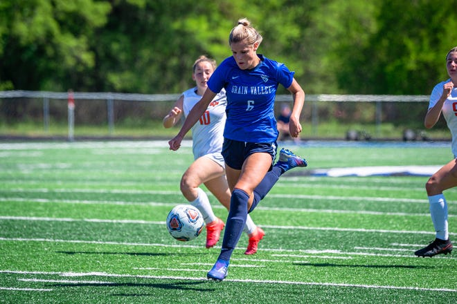 Grain Valley senior midfielder Raena Childers races the ball down field in Saturday's Class 3 state quarterfinal win over Platte County. Childers was able to get to a state final four, something her sisters Reighan and Rylan – both Division I players – didn't get to do in their time at Grain Valley.