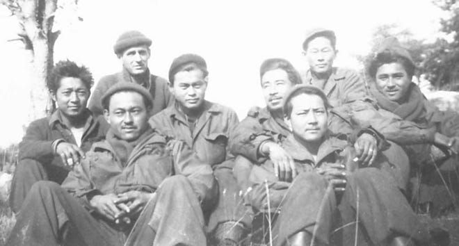 David Novack is at top left with soldiers from the 100th Battalion, made up largely of second-generation Japanese-Americans who saw fierce combat during World War II.