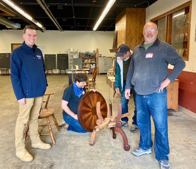 """Gardner Mayor Michael Nicholson, left, and Keith Lucier are shown at the recent open house event at the Chair City Legacy Makerspace's temporary School Street location. Lucier, who has worked in the furniture industry for 30 years, will teach an """"Heirloom Skills"""" workshop over the summer."""