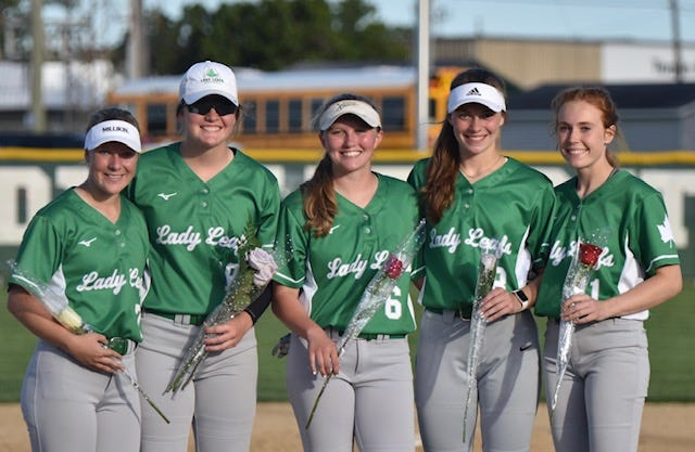 The five seniors on the GHS softball team were recognized at the team's recent victory over Wethersfield/Annawan. The seniors are, from left, Natalie Baumgardner, Robyn Nelms, Morgan Bjorkman, Hannah Dunk and Anna Narup.