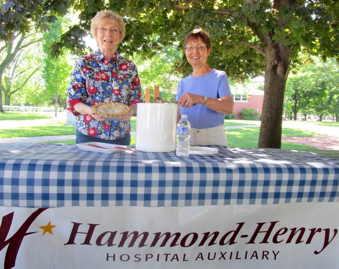 Hammond-Henry Hospital Auxiliary members Connie Paris, left, and Penny Nanni, will be helping at the group's annual ice cream social on Thursday, June 10, in Geneseo City Park. Barbecue sandwiches, a variety of pies and cakes, along with ice cream and beverages will be served, beginning at 5 p.m. The Miracle Blue Grass Band will provide music for dancing and listening, beginning at 6:30 p.m. Proceeds of the social are used for health career scholarships presented each year by the auxiliary. This year's recipients will be announced at the ice cream social.