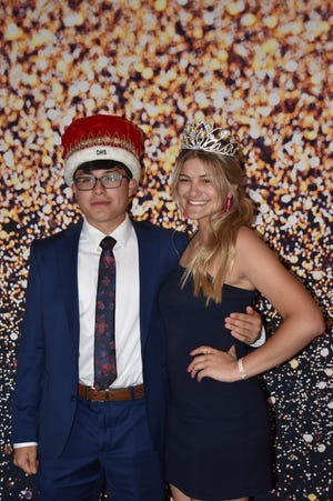 Orion seniors who reigned over Dinner and a Laugh on Friday, May 28, are King Nathan Monzon, left, and Queen Marly Lillibridge. Because COVID-19 protocols prevented Orion High School from holding prom last year or this year, OHS held a semi-formal Dinner and a Laugh at Lavender Crest Winery for juniors and seniors. Guys with Ties performed.