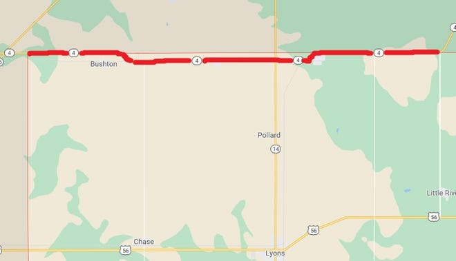 The red line on this map indicates the segment of K-4 that will receive a mill and hot mix overlay starting June 14 in Rice County