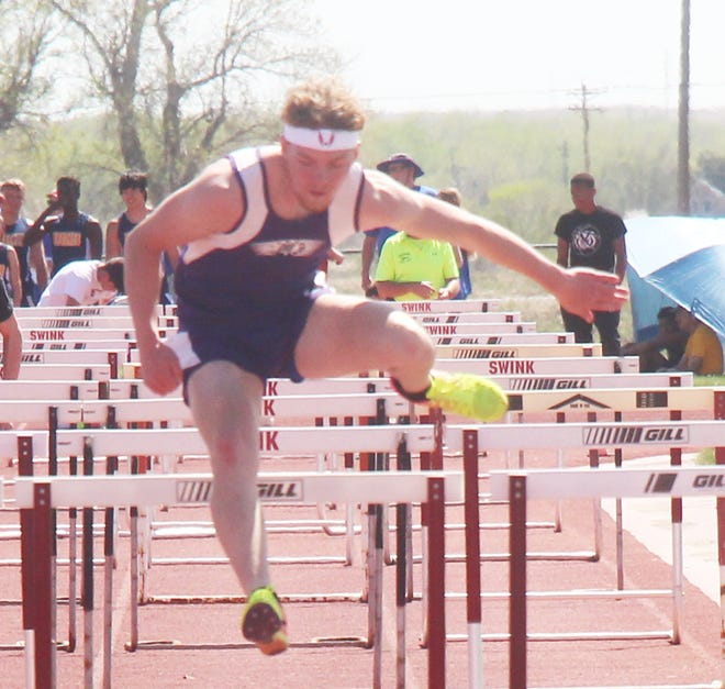 Cheraw High School's Braeden Harris competes in the 110-meter high hurdles at the Ray Headley Invitational in early May. Harris is currently ranked second in the event in Class 1A in the latest MaxPreps standings.