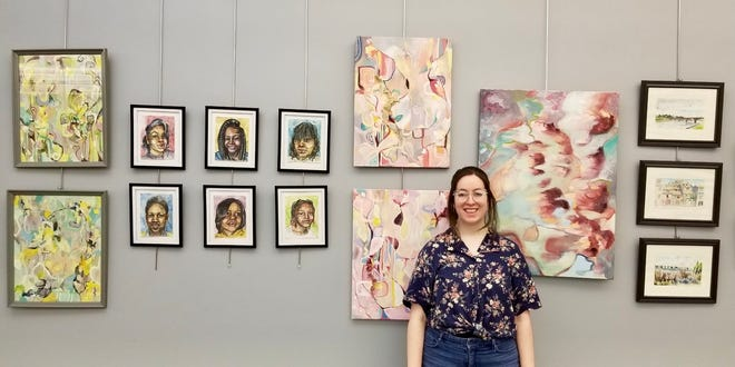 Webster Public Library's art gallery display for June 2021 features work by local resident Hannah Bell. The display includes Bell's creations that are captured in watercolor, abstract compositions in oil and portraits in mixed media.