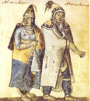 Portrait of a Wabenaki (Abenaki) couple as depicted at a French mission on the Saint Lawrence River around 1700 by an unknown artist.