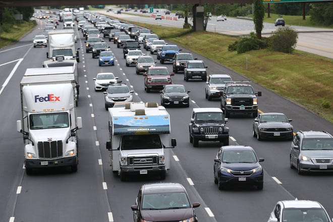 Traffic heading south on I-95 was bumper to bumper in Portsmouth to the tolls in Hampton on Monday, May 31, 2021.