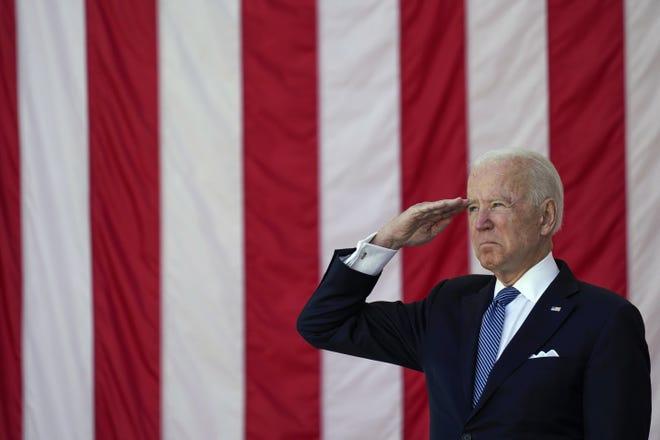 President Joe Biden at Memorial Day ceremonies at Arlington National Cemetery on Monday.
