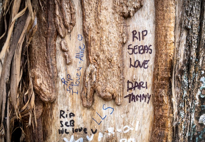 People wrote notes on a tree in the median of Camino Real where five people were killed and five others seriously injured in a crash early Sunday morning in Boca Raton, Florida.