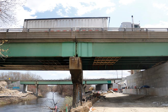 Ongoing work on one of the Route 37 bridges that are on the DOT's list of construction projects in 2021.