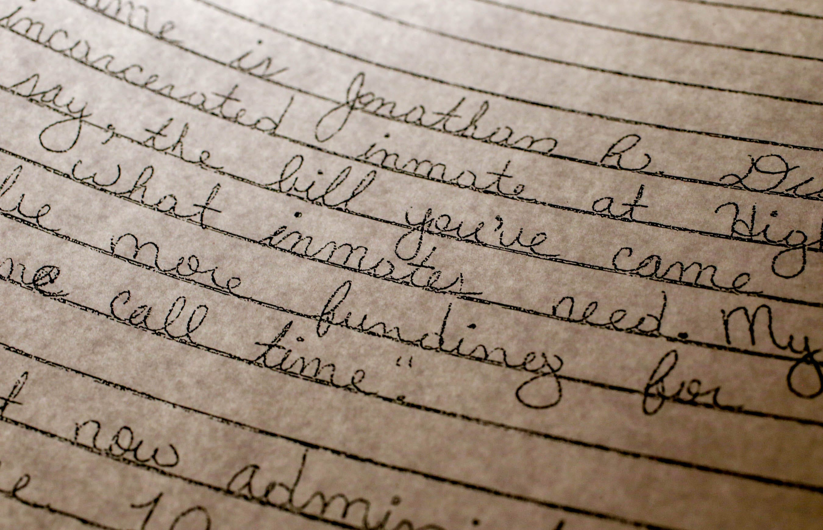 One of the dozens of letters written by inmates at the ACI, urging passage of a bill that would limit the use of solitary confinement in Rhode Island.