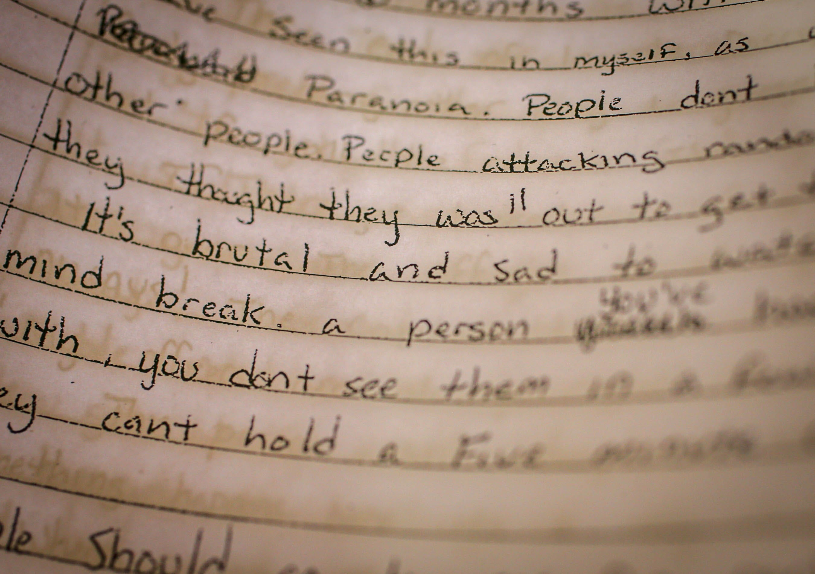 A portion of an inmate's letter describing the mental health toll of being confined to a cell for 22½ hours a day.