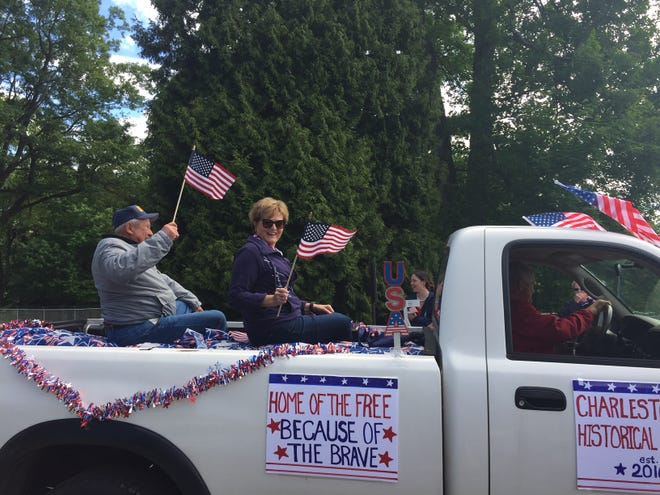 Lee Moser, U.S. Navy veteran, and Claudia Lewis represent the Charlestown Historical Society in the township's Memorial Day parade.