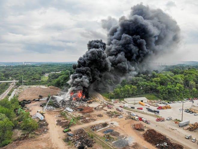 Firefighters used more than 1 million gallons of water on this fire last week at PSC Metals in Canton Township.  Photo courtesy of Canton Fire Department