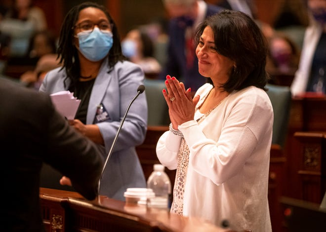 State Rep. Lisa Hernandez, D-Cicero, celebrates the passage of Senate Bill 667, the Illinois Way Forward Act that would close detention centers and prevent law enforcement from inquiring on immigration status, on the floor of the Illinois House of Representatives on the last day of session at the state Capitol on Monday. [Justin L. Fowler/The State Journal-Register]