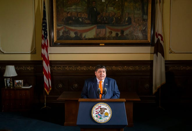 Illinois Gov. JB Pritzker praises the budget passed by the lawmakers during a press conference in his office at the Illinois State Capitol in Springfield, Ill., Tuesday, June 1, 2021. [Justin L. Fowler/The State Journal-Register]