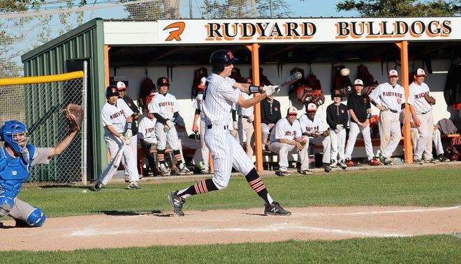 Rudyard senior Hayden Mills (3) takes an at-bat against Brimley during a baseball game this past Friday at Rudyard Lions Field. The Bulldogs celebrated Senior Night.