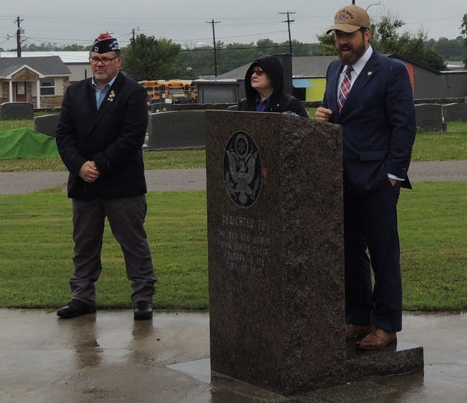 Senator Shane Jett, right,  Auxiliary President Barbara White, center, and VFW Post 1317 Commander James  Dockemeyer at left, pictured at the Memorial Day Services at Resthaven Cemetery Monday, May 31, 2021.