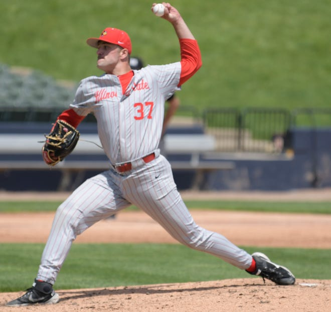 Kewanee High graduate Colton Johnson finished up his regular season college baseball career last week at Bradley University, which hosted Illinois State University, where Johnson pitches for the Redbirds. The Redbirds were eliminated from the MVC Championship Series.