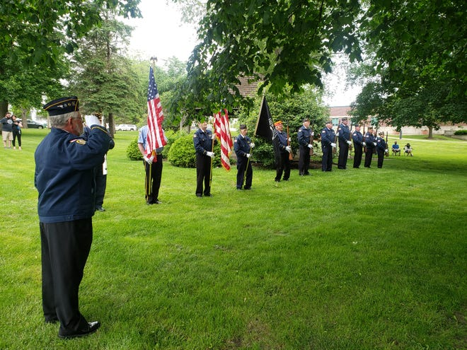The Kewanee Veterans Council, made up of members from the American Legion Post 31, the VFW and the Marine Corp League, honored fallen service members at a ceremony held at Veterans Park Monday. The names of 47 area service members were read aloud. Shown is the Kewanee Veterans Firing Squad.