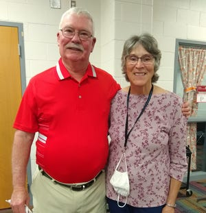 Coach Tom Moe (shown with his wife Jane) was honored last week for serving 50 years in athletics at Constantine schools.