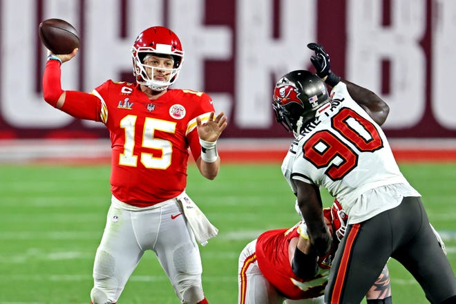 Kansas City Chiefs star quarterback Patrick Mahomes is hoping this year's new crop of offensive linemen can protect him better than last year's squad did during a disastrous Super Bowl LV showing at Raymond James Stadium in Tampa, Fla.